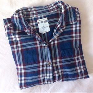 American Eagle Outfitters Tops - NWOT AE plaid boyfriend shirt