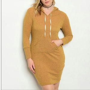 Dresses & Skirts - PLUS mustard hoodie mini