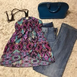 Tops - Halter Patterned Blouse with Wooden bead detail
