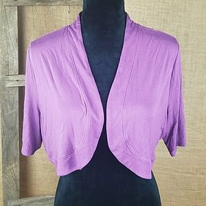 Soma Sweaters - Soma women L cropped cardigan short sleeve purple