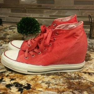 Converse Shoes - Red wedge Converse sneakers