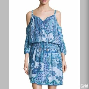 Neiman Marcus Dresses & Skirts - Blue Print Open Shoulder Dress *Never Worn*