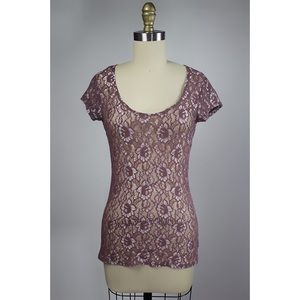 Tops - Purple Shimmer Lace Top