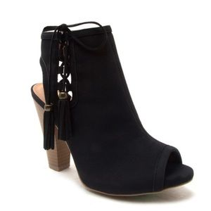The NEW Boutique Shoes - Black Open Toe Booties with Tassels