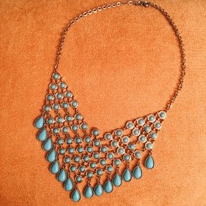 Turquoise and Bronze Statement Necklace