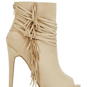 JustFab Shoes - Beige fringe Just Fab bootie heels