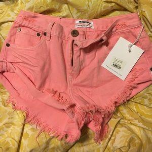One teaspoon hot pink bandit shorts