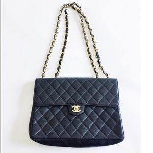 CHANEL Handbags - CHANEL Black Caviar Jumbo Quilted Flap Bag