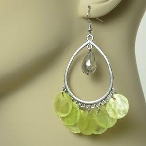 New Yellowish Green Shell  Earrings
