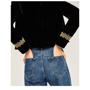 Zara Jackets & Blazers - 🆕Zara Velvet Blazer with Gold details