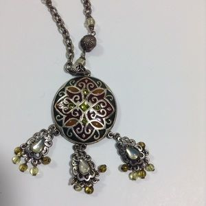 Emerald Toned & Silver Pendant Necklace