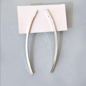 minimal Italian sterling silver stick bar earrings