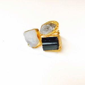 Herkimer Diamond, Tourmaline, Moonstone Ring 24K