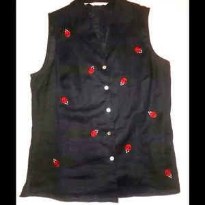 Edwards black tank w/red embroidered lady bugs!,
