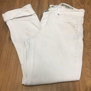 Indigo Rein Denim - Cuffed white denim capris