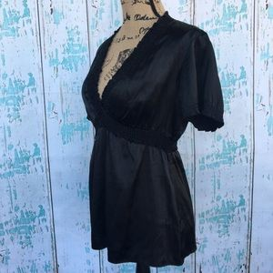 BCBGMaxazria black silk blouse size medium