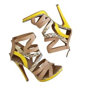 L.A.M.B. Jen Naked yellow snakeskin nude stiletto