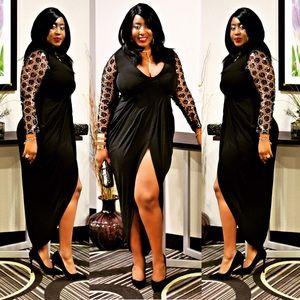 Beautiful embellished sleeve black dress