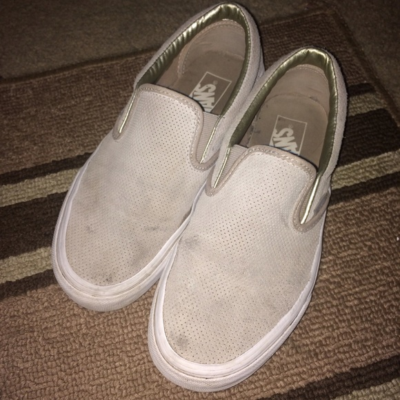 Vans Shoes | Nude Perforated Suede Slip