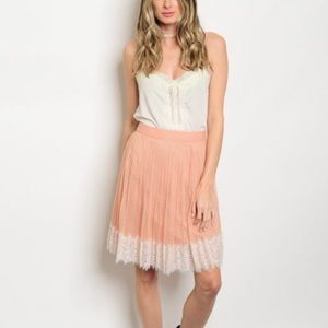 Blush Lace & Tulle Skirt