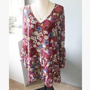 Burgundy Floral Festival Dress