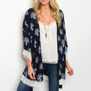 Honey Punch Sweaters - Blue Floral Lace Kimono