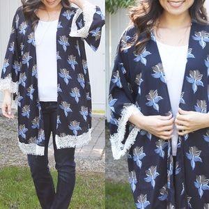 Blue Floral Lace Kimono