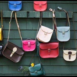 Cambridge Satchel Handbags - Brit Stitch Full Pint Vintage Red Leather Satchel