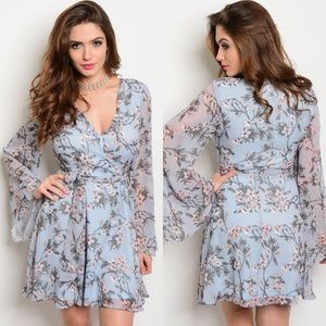 Love Riche Dresses & Skirts - Light Blue & Peach Floral Long Bell Sleeves Dress