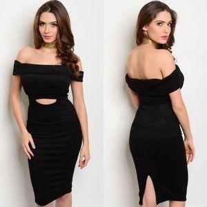 Black Off-Shoulder Cut-Out Suede Bodycon Dress