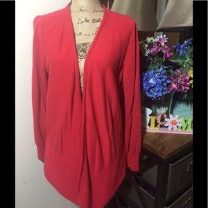 LOFT Sweaters - Ann Taylor Loft Red Open Cardigan