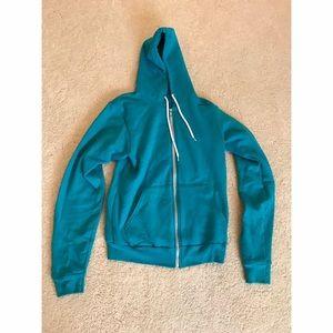 Teal American Apparel Zip Up Hoodie Jacket