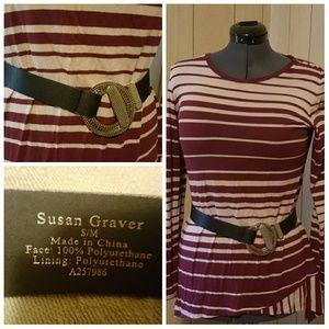 Susan Graver Accessories - Black Susan Graver Belt with Silver Buckle S / M