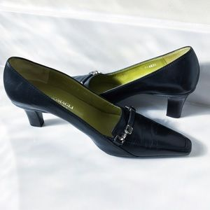 Bruno Magli Shoes - Bruno Magli Black Leather Buckle Heels Shoes 7.5