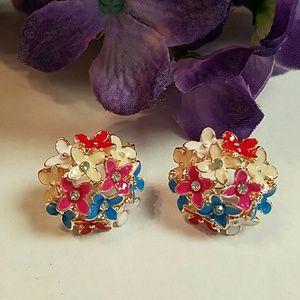 Jewelry - Crystal and enamel flower ball earrings