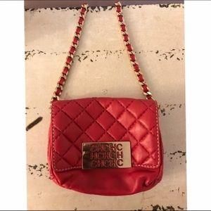 Carolina Herrera Handbags - Carolina Herrera Red Lamb Skin Chained Handbag