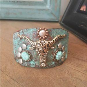Jewelry - New Turquoise Finish Bull Embellished Bracelet