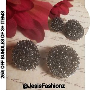Gunmetal Flowerburst Stud Earrings