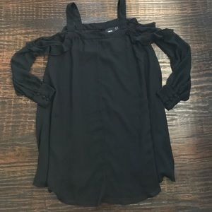 ASOS Dresses & Skirts - NWT ASOS Black Cold Shoulder Ruffle Dress