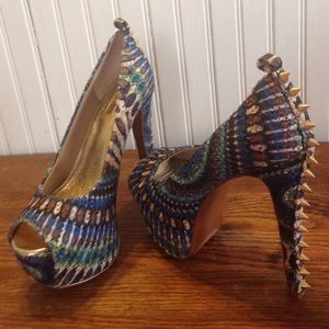 Wild Pair Shoes - Wild pair colorful studded heels size 6.5