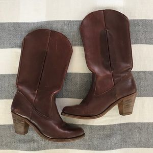 Vintage Dexter Cowboy Boots with Stacked Heel