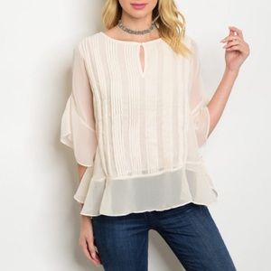 LucyMint Tops - 🌸SALE🌸Mademoiselle Cream Pleated Blouse