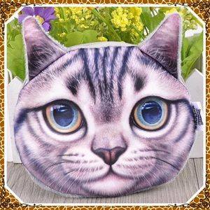 Handbags - 3D cute cat face shiny eyes zipper coin purse