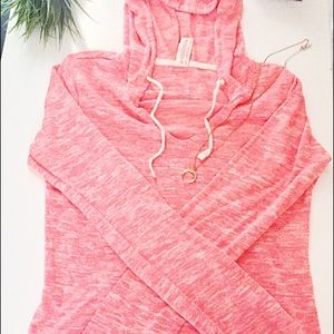No Boundaries Tops - Coral Pink Hooded Long Sleeve Top | M