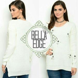 Bella Edge Sweaters - Ivory chunky knit rhinestone sweater