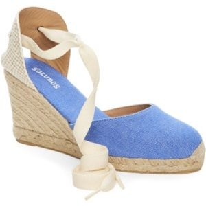 Soludos Shoes - Marina Blue Wedge Ankle-Wrap Espadrille SandalsNEW