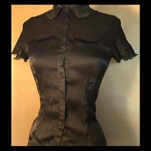Behnaz Sarafpour Tops - Vintage Black Silk Blouse with Lace