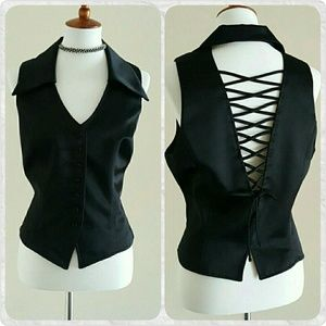 Patra Tops - Patra Black Satin Vest w/ Criss Cross Back