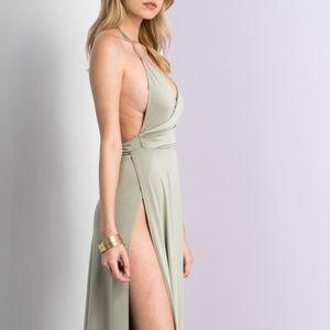 Victoria Daring Side Slit Maxi Dress (Opal)