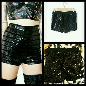 sequins shorts black milkyway small nwt